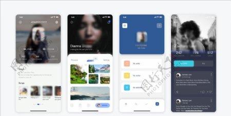 xd社交绿色蓝色UI设计首页个图片