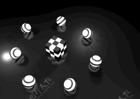 黑白魔方立方体圆球图片