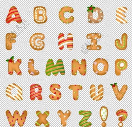 圣诞元素矢量字母饼干样式图片