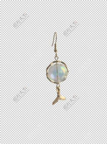 珠子鱼尾耳坠图片