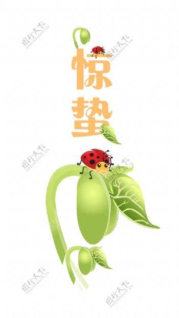 惊蛰瓢虫插画图片