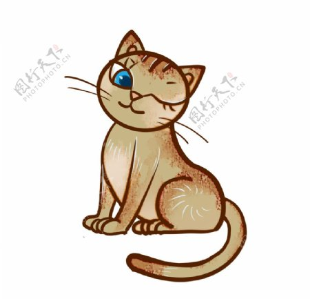 眨眼睛的小猫图片