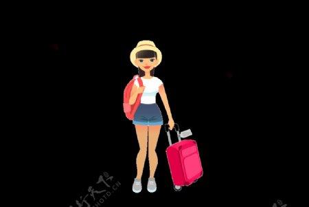 卡通人物旅游的女孩图片