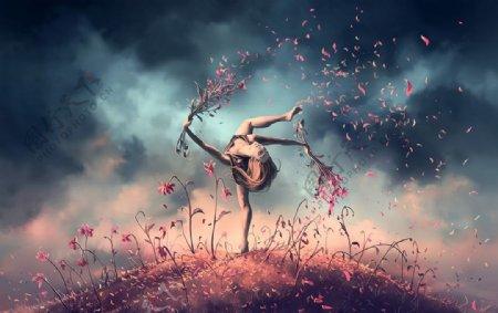 舞蹈人物插画卡通背景素材图片