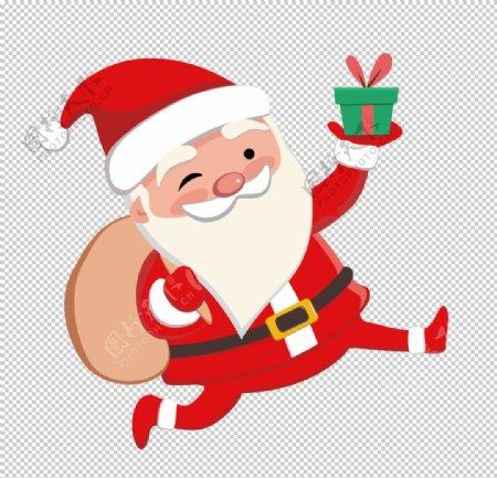 圣诞老人手拿礼物图片