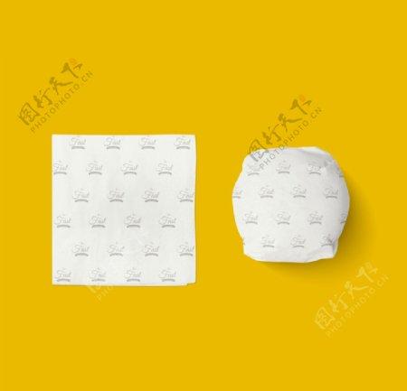 西式快餐汉堡纸巾VI样机图片