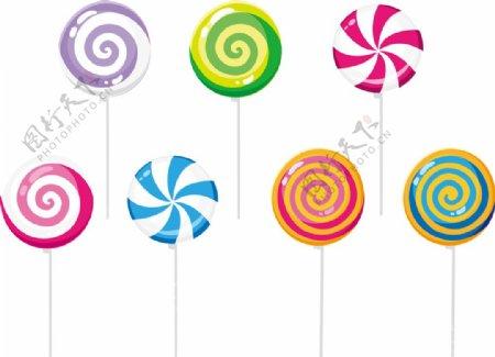 可爱彩色棒棒糖糖果矢量元素图片