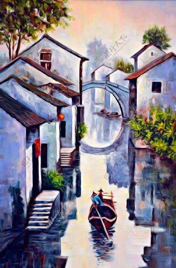 江南山水风景油画图片