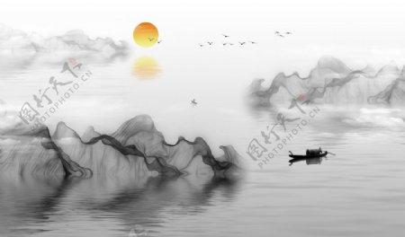 中式山水画背景墙图片