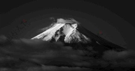 富士山黑白灰雪景图图片