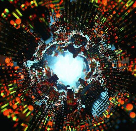 C4D模型电子隧道过道迷宫图片