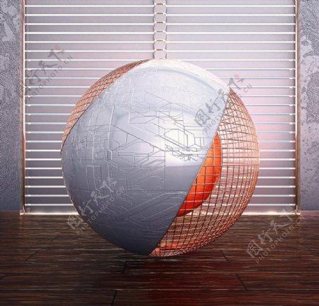 C4D模型百叶窗室内球体房间图片
