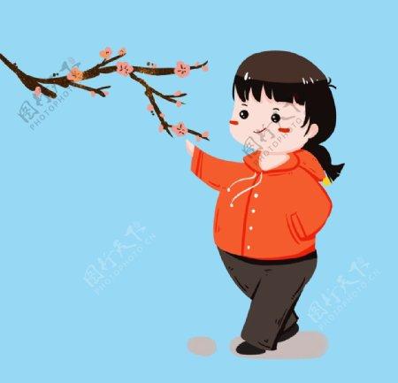 冬季赏梅花女孩图片