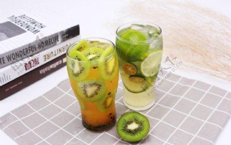 猕猴桃汁青柠饮品柠檬水图片