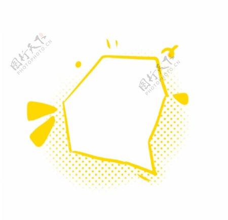 黄色手绘波点不规则矩形边框图片
