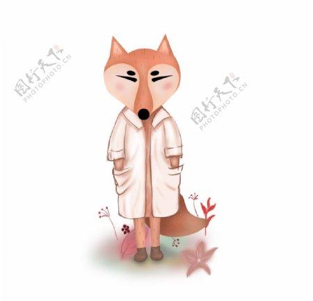 穿着大衣的狐狸手绘图片