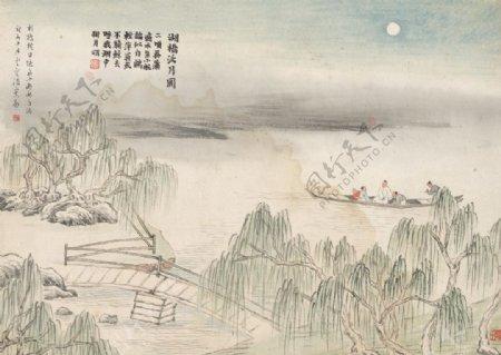 齐白石国画湖桥泛月图图片