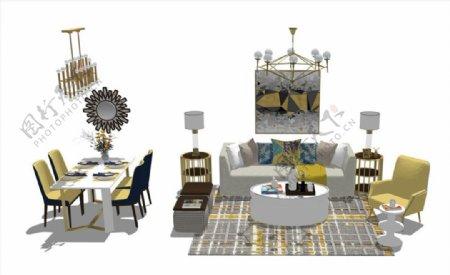美式客厅餐厅家具组合SU模型图片