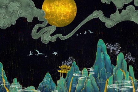 烫金水墨中国风图片