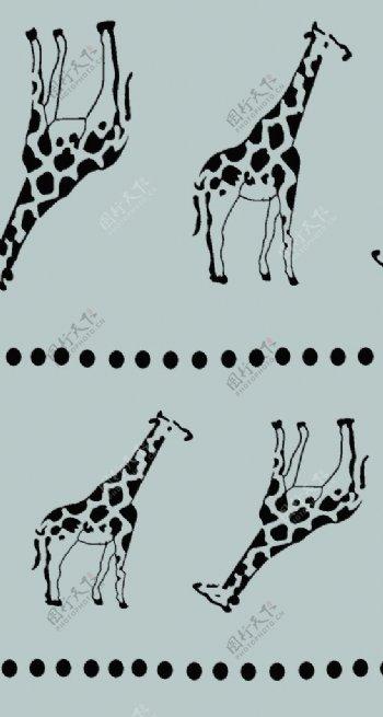 手绘长颈鹿数码印花图片