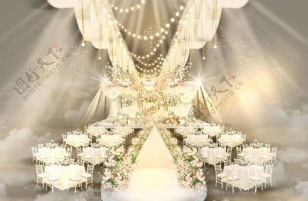 小清新森系香槟色仪式区婚礼手绘图片